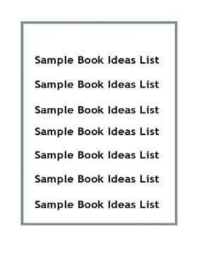 Sample Book Ideas List