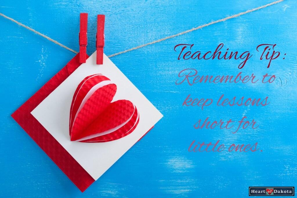 Heart of Dakota Teaching Tip Lessons Short for Little Ones