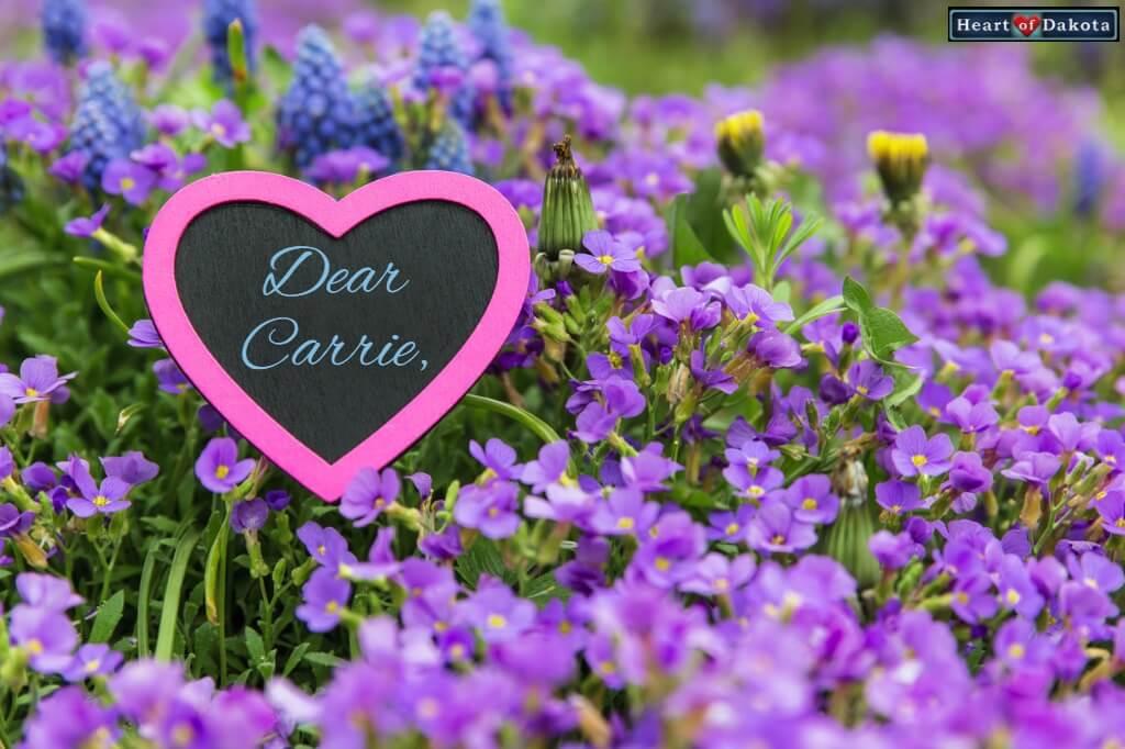 Dear Carrie Heart of Dakota Algebra 1
