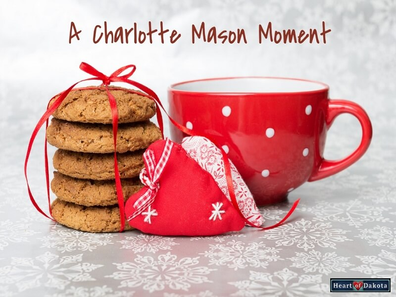 Heart of Dakota Charlotte Mason Moment title photo - red mug with cookies on a white tablecloth