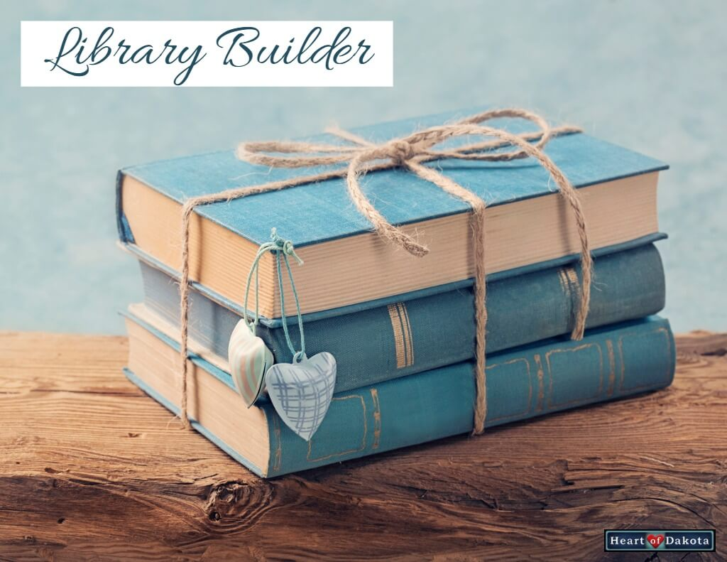 Heart of Dakota February Library Builder - photo of 3 aqua-colored books stacked and bound with twine.