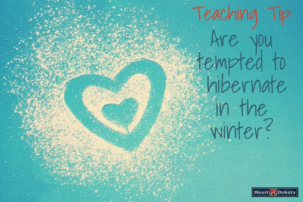 "Heart of Dakota Teaching Tip - photo of flour scattered on a light blue background. Traced into the flour is a design of two concentric hearts. To the right, text reads ""Are you tempted to hibernate in the Winter?"""