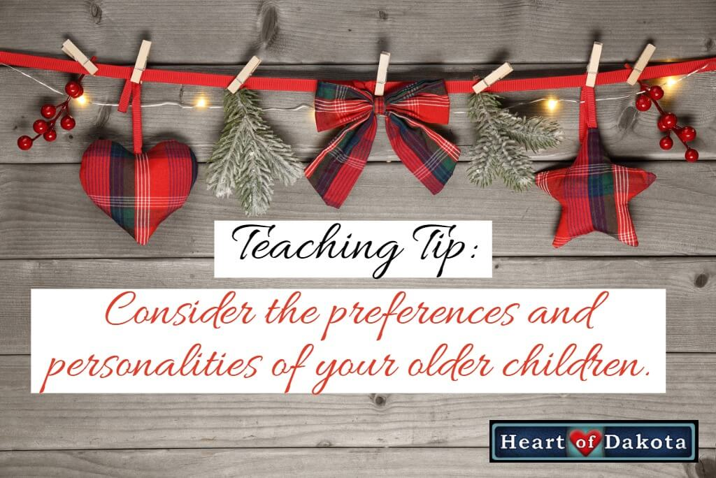 Heart of Dakota Teaching Tip - Do you have young adults in your home?