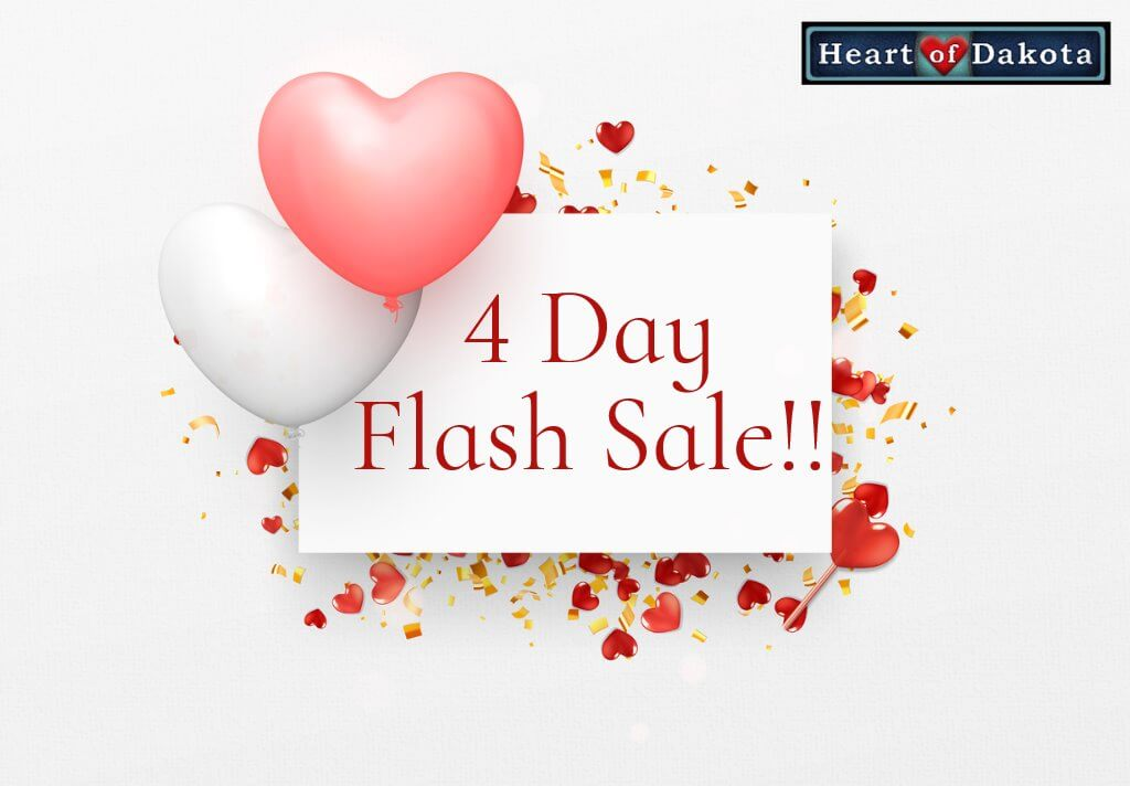"""Pink and white heart shaped balloons floating next to a placard that reads: """"4 Day Flash Sale!!"""""""